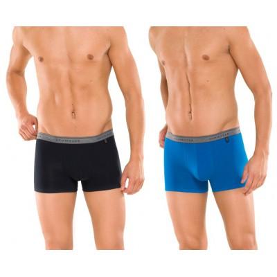 Schiesser heup short 95/5 - 2-pack (set van 2 shorts) - Zwart/Blauw-140299